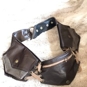 Genuine leather festival belt hip bag zip pockets